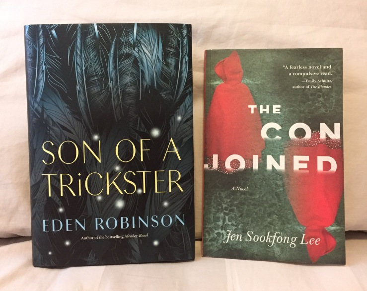Covers for Son of a Trickster by Eden Robinson and The Conjoined by Jen Sookfong Lee.